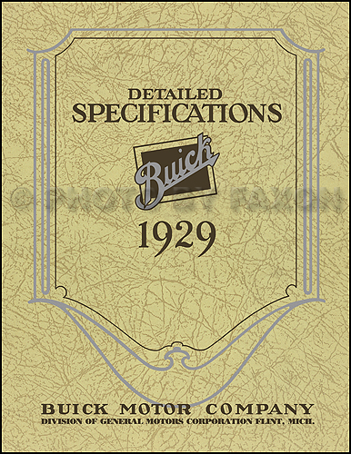 1929 Buick Detailed Specifications Manual Reprint