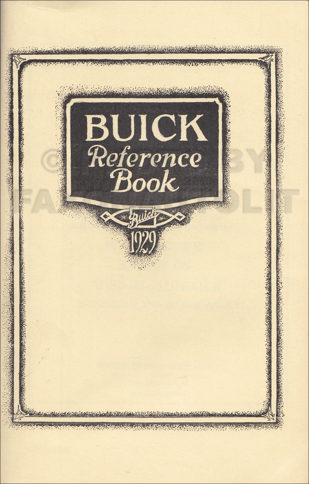1929 Buick Owner's Manual Reprint