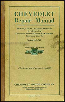 1929 Chevrolet Shop Manual Original Chevy Car & Truck