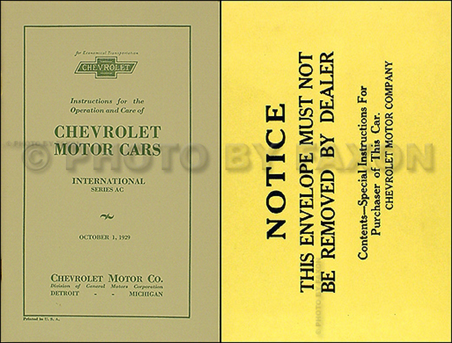 1929 Chevrolet Car Reprint Owner's Manual Package