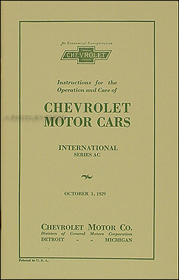 1929 Chevrolet Car Reprint Owner's Manual