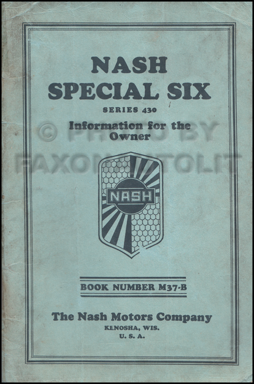 1929 Nash Special Six Owner's Manual Original