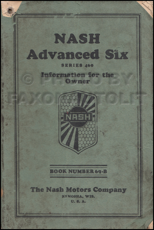 1929 Nash Advanced Six Owner's Manual Original