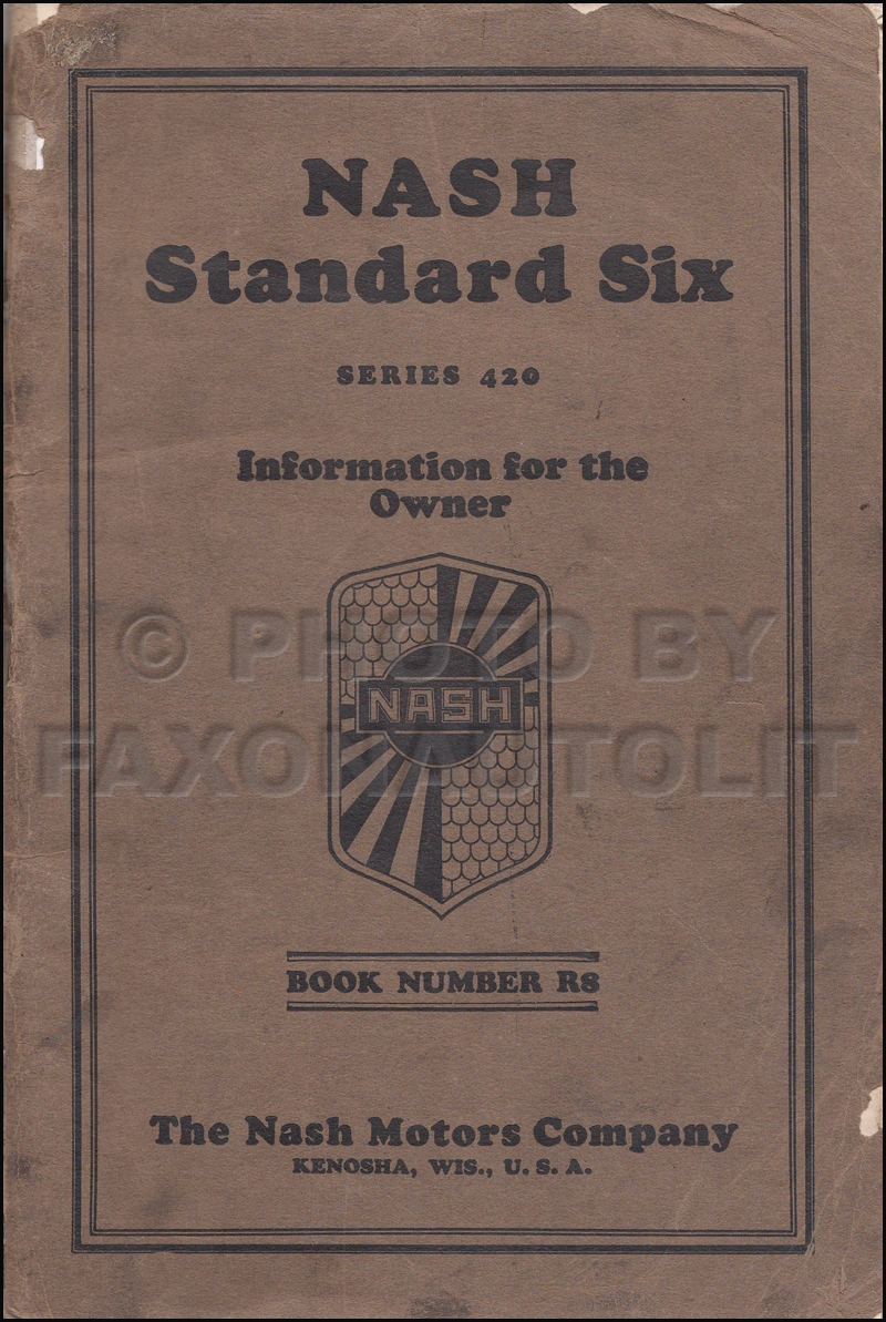 1929 Nash Standard Six Owner's Manual Original