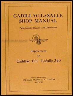1930 Cadillac and LaSalle Shop Manual Original Supplement