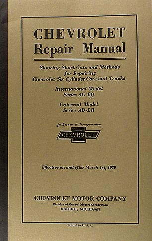 1929-1930 Chevrolet Shop Manual Reprint Car & Truck