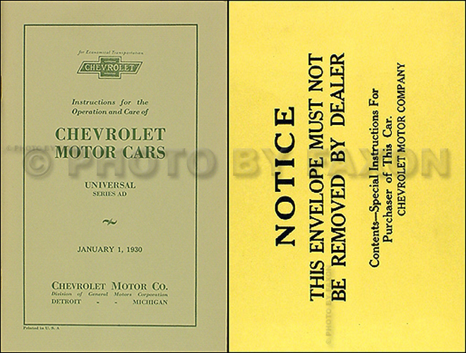 1930 Chevrolet Car and Truck Reprint Owner's Manual Package