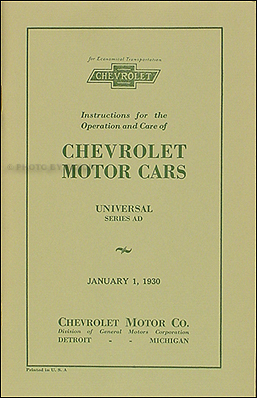 1930 Chevrolet Car and Truck Owner's Manual Reprint