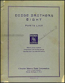 1930-1931 Dodge DC Eight Parts Book Original