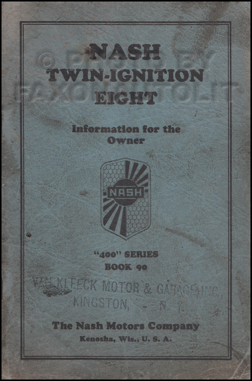 1930 Nash Twin Ignition Eight Owner's Manual Original