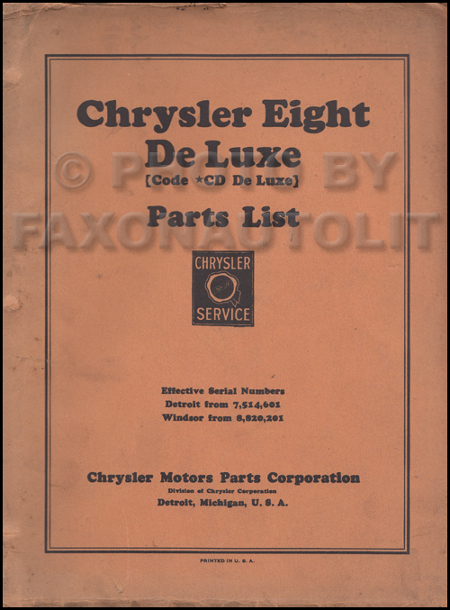 1931-1932 Chrysler Eight Deluxe Parts Book Original Model CD
