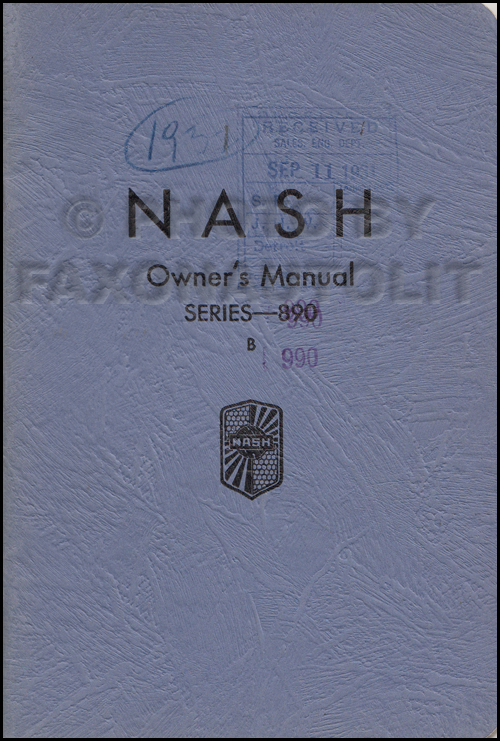 1931-1932 Nash Series 890 B & 990 Owner's Manual Original