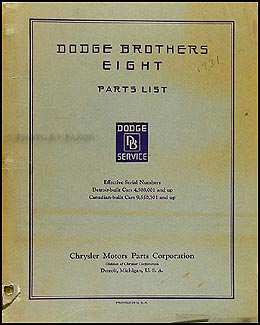 1931 Dodge DG Eight Parts Book Original