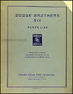 1931 Dodge DH Six Parts Book Original