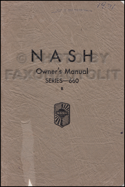 1931-1932 Nash Series 660 B & 960 Owner's Manual Original 2nd edition