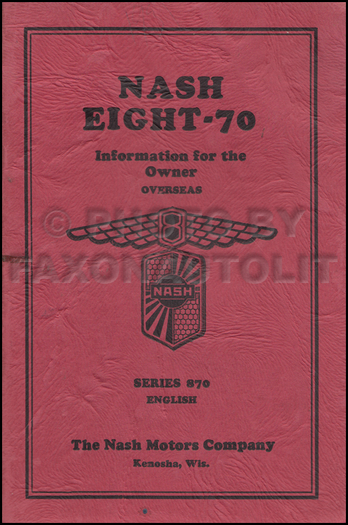 1931 Nash Eight-70 Owner's Manual Original Export
