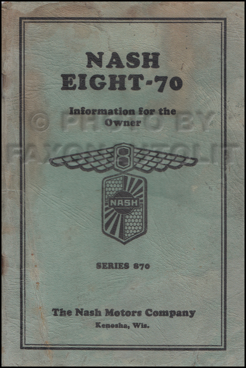 1931 Nash Eight-70 Owner's Manual Original