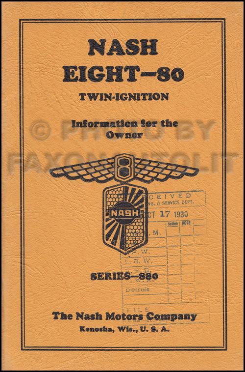 1931 Nash Twin Ignition Eight-80 Owner's Manual Original First Edition