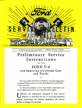 1932-1937 Ford Service Bulletins Repair Manual Reprint Softbound