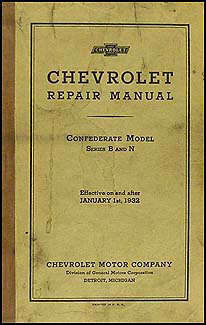 1932 Chevrolet Original Repair Manual Car & Truck