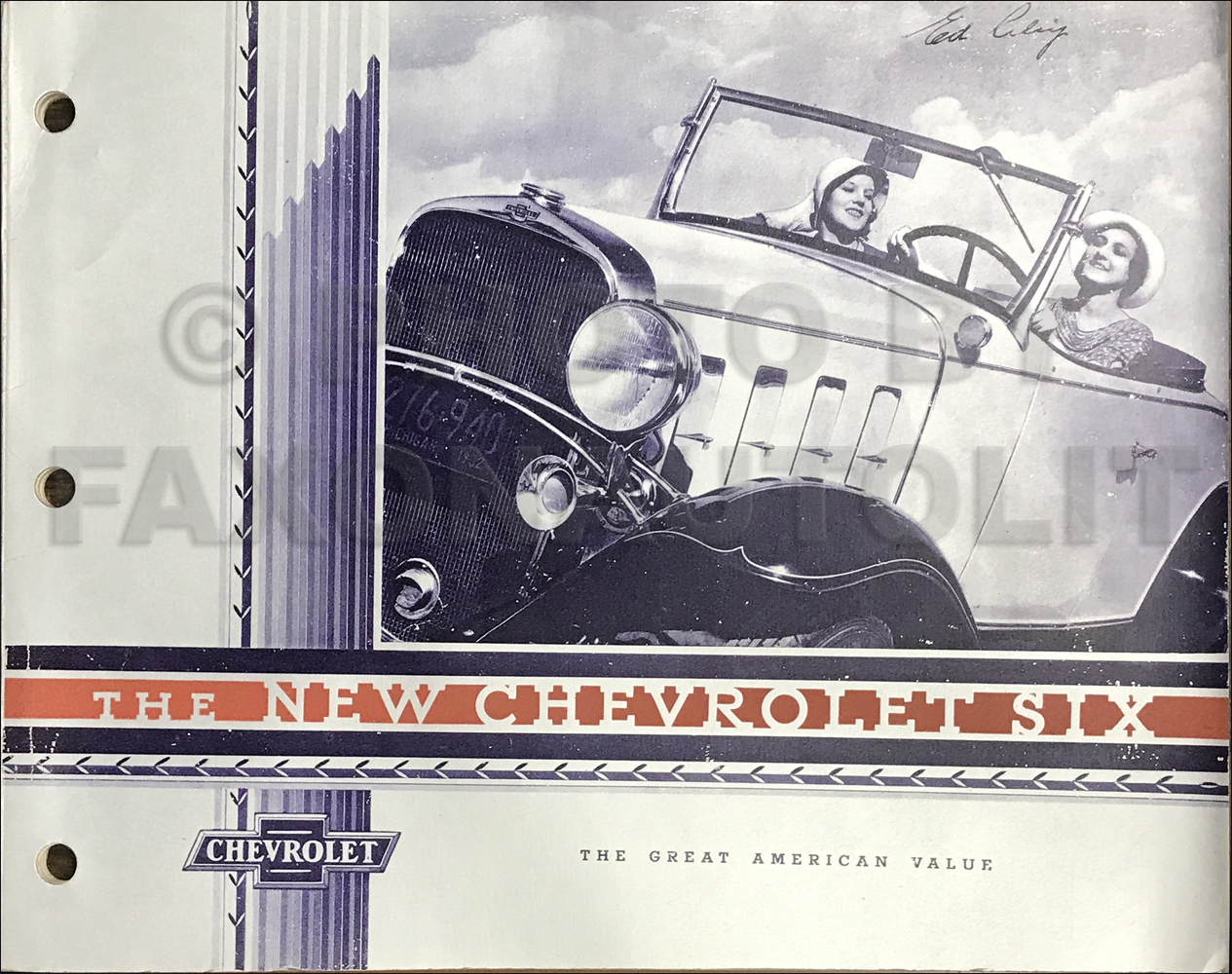 1932 Chevrolet Car Dealer Album Original