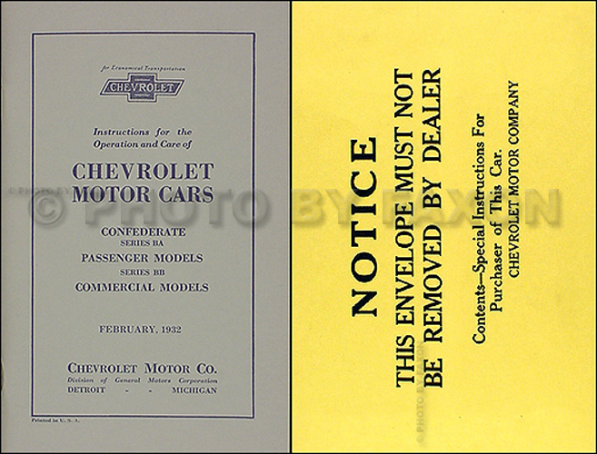 1932 Chevrolet Car and Truck Owner's Manual Reprint Package