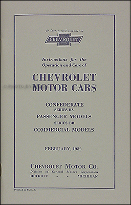 1932 Chevrolet Car & Truck Reprint Owner's Manual