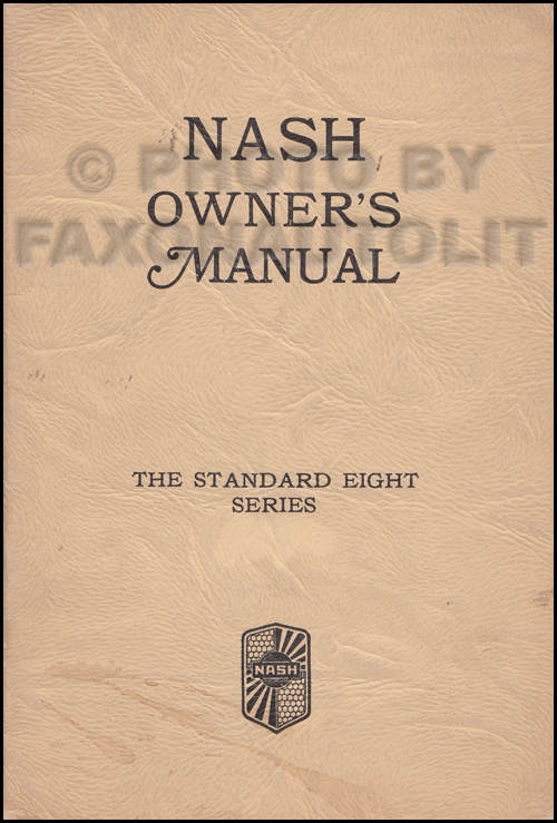 1932 Nash Standard Eight 1070 Owner's Manual Original