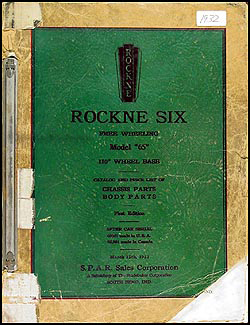 1932 Rockne Six Model 65 Parts Book Original