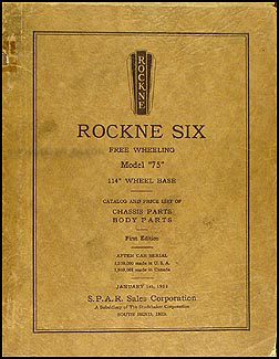 1932 Rockne Six Model 75 Parts Book Original