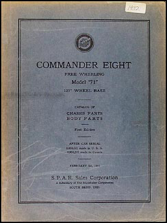 1932 Studebaker Commander 8 Parts Book Original