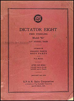 1932 Studebaker Dictator Eight Parts Book Original