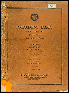 1932 Studebaker President Eight Parts Book Original