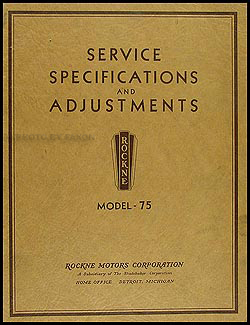1932 Rockne Model 75 Shop Manual Original