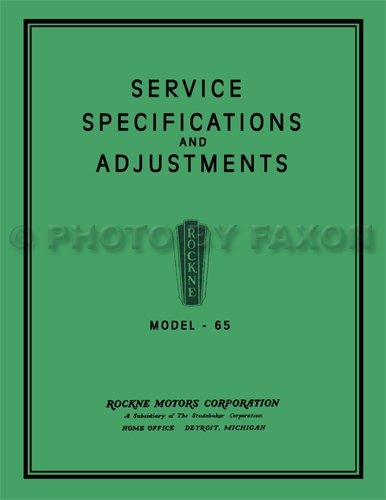 1932 Rockne Model 65 Repair Manual Reprint