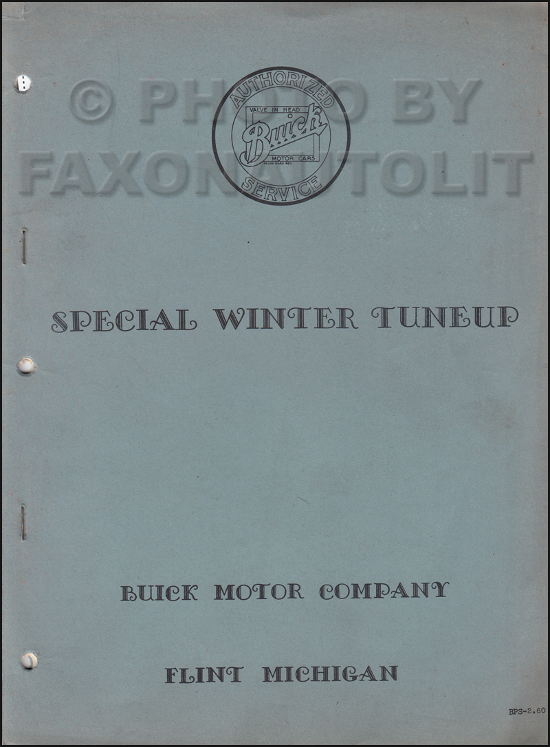 1933-1934 Buick Winter Tune-Up Shop Manual Original