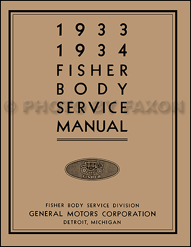 1933-1934 Buick Body Repair Manual Reprint -- All models