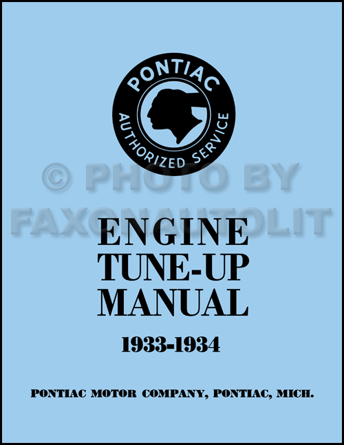 1933-1934 Pontiac Engine Tune-Up Shop Manual Reprint