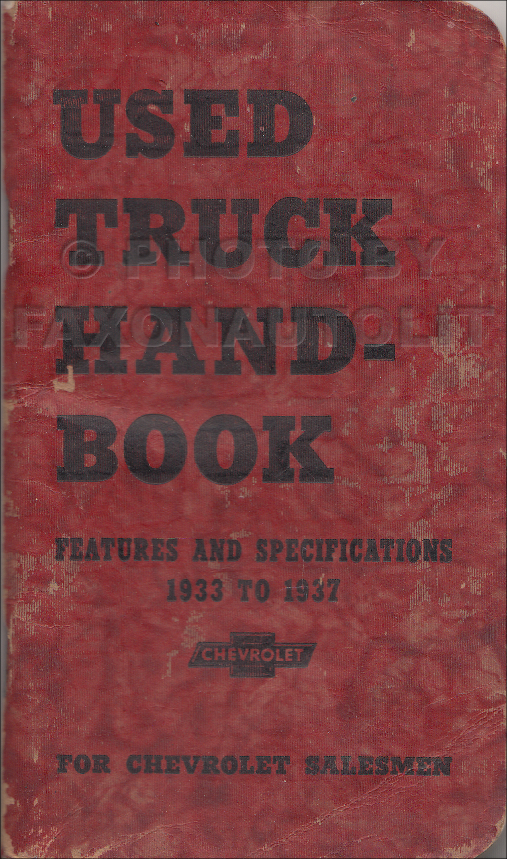 1933-1937 Chevrolet Used Truck Handbook Dealer Album Original