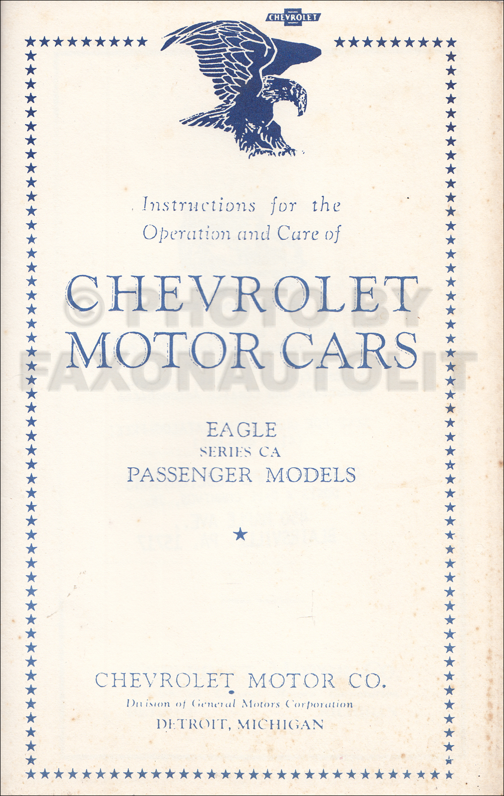 1933 Chevrolet Eagle Car Reprint Owner's Manual December '32 Edition