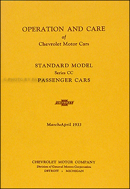 1933 Chevrolet Standard Car Reprint Owner's Manual