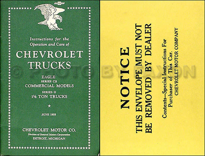 1933 Chevrolet Pickup & Truck Reprint Owner's Manual Package