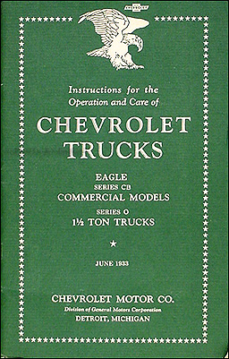 1933 Chevrolet Pickup & Truck Reprint Owner's Manual
