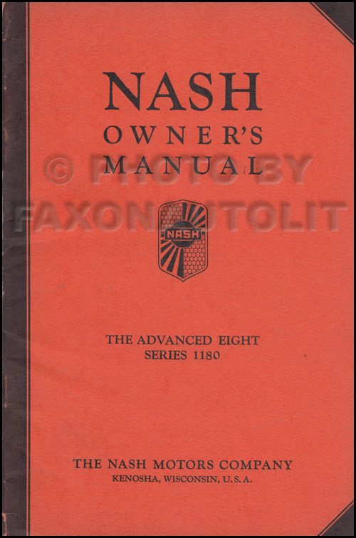 1933 Nash Advanced Eight Owner's Manual Original