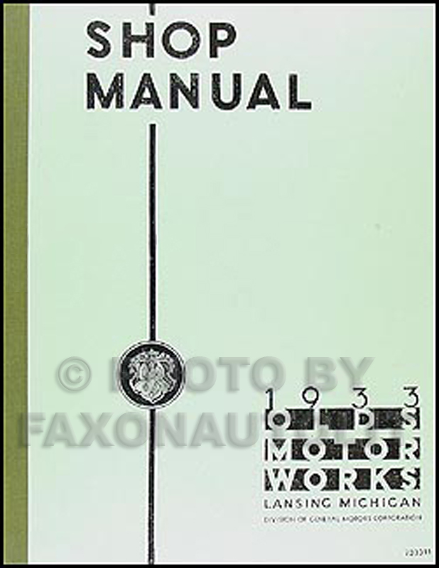 1933 Oldsmobile Repair Manual Reprint