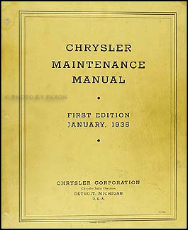 1934-1935 Chrysler Shop Manual Original