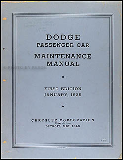 1934-1935 Dodge Car Shop Manual Original