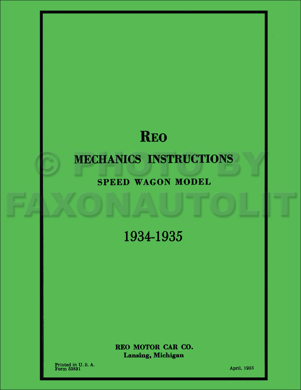 1934-1935 Reo Speedwagon Repair Manual Reprint