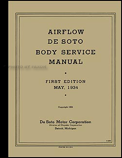 1934-1936 Chrysler & Imperial Airflow Body Shop Manual Original