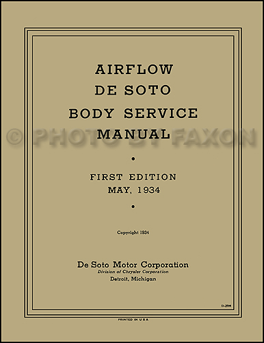 1934-1936 De Soto Airflow Body Shop Manual Reprint